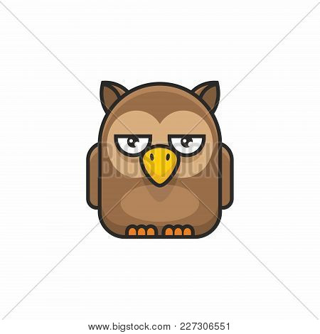 Cute Owl Icon On White Background. Vector Illustration