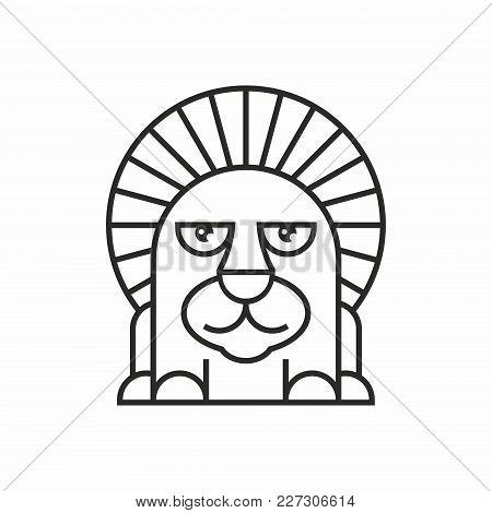 Cute Lion Icon, Thin Line Style, Flat Design