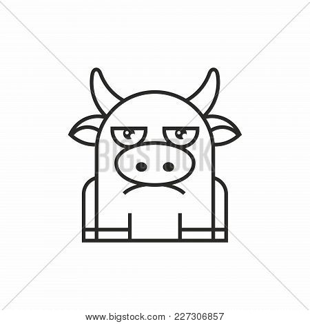 Cute Cow Icon, Thin Line Style, Flat Design
