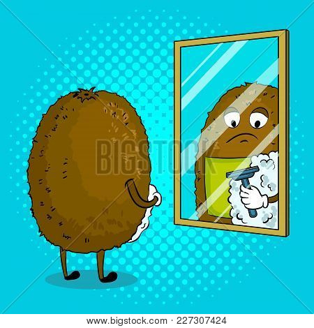 Kiwi Fruit Shaves In Front Of Mirror Pop Art Retro Vector Illustration. Cartoon Food Character. Colo
