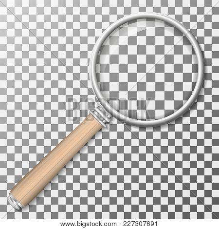 Magnifying Glass. A Magnifying Glass With A Wooden Handle. Magnifying Glass Vector Illustration
