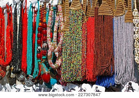 Multicolored Handmade Necklaces And Bracelet  With Beads At Market