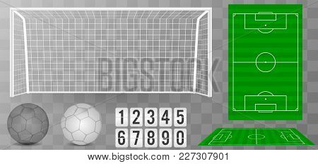 Football Goal With Shadow Isolated On A Transparent Background. Football Field Or Soccer Field Backg