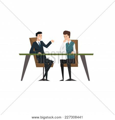 Business Partners Talking And Discussing Ideas At Meeting, Coworking People Characters Vector Illust