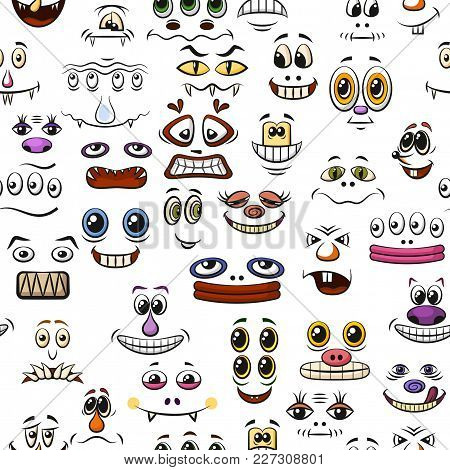 Seamless Background With Monster Faces, Different Eyes, Mouths, Teeth And Noses, Colorful Tile Patte