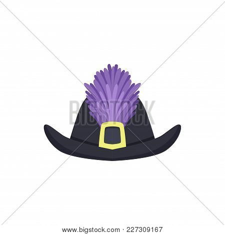 Hat With Feathers Masquerade Decor, Carnival Headdress Element Cartoon Vector Illustration Isolated
