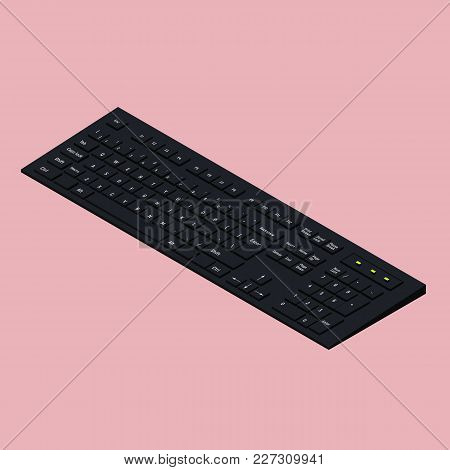 Modern Black Computer Keyboard On Pink Background. Isometric Illustration. 3d Office Equipment Minim