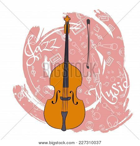 A Cello. Stringed Musical Instrument. Jazz Instruments, On An Abstraction Pink Background. With Addi