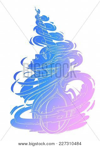 Graphic Unicorn Girl With Long Hairs Surrounded By Magic. Vector Fantasy Art