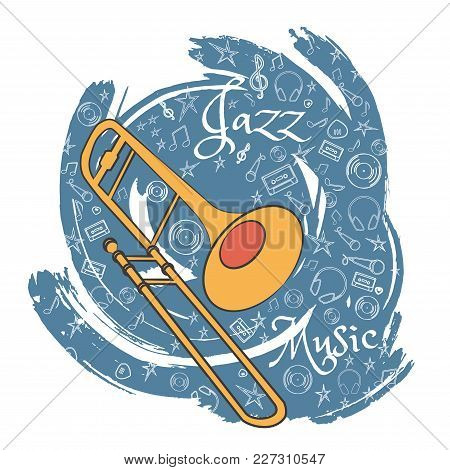 Trombone. A Musical Musical Instrument. Jazz Instruments, On An Abstract Gray Background. With Addit