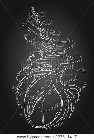 Graphic Unicorn Girl With Long Hairs Surrounded By Magic. Vector Fantasy Art Isolated On The Chalkbo
