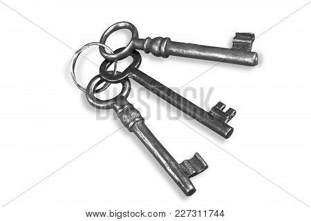 White Background Keys Close Up Object Nobody Horizontal