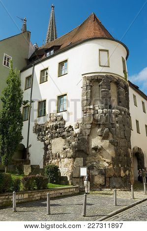 Regensburg, Germany - September 04, 2010: Unidentified Tourists Visit The Remains Of The East Tower