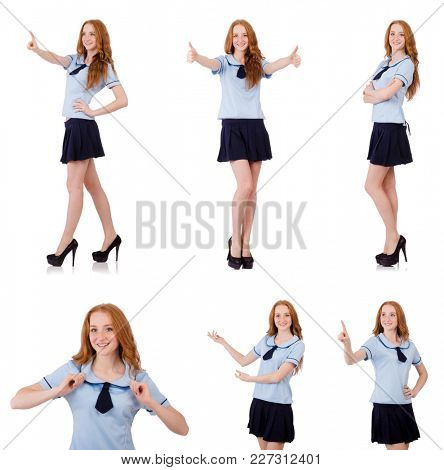 Young naughty student pressing virtual button isolated on white