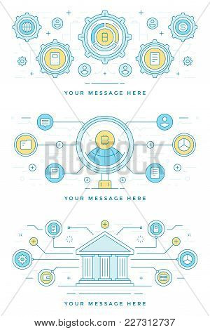 Blockchain Concept Finance Banner And Bitcoin Icon Flat Line Stroke Vector Illustration. For Website