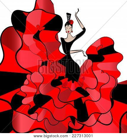 White Background And Spanish Dancer In Red-black Dress