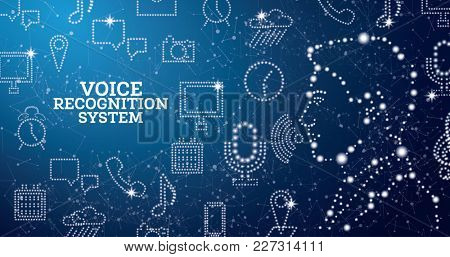 Voice Recognition Assistance System Concept with Neon Icons. Man Face. Speech Recognition Symbol.