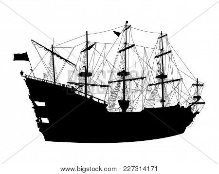 Black Silhouette Of The Pirate Ship Isolated On White Background