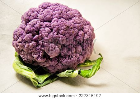 Purple Cauliflower With Green Leaves - Brassica Oleracea, Botrytis