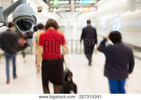 Cctv Security Camera Observation And Monitoring In The Subway Station.