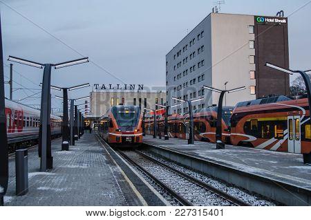 Tallinn, Estonia - 7 January 2018: Railway Station In Tallinn, Estonia