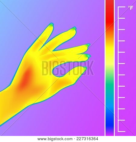 Thermal Imager Scan Human Hand Vector Illustration. The Image Of A Female Arm Using Thermographic Ca