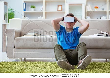 Young man with virtual glasses