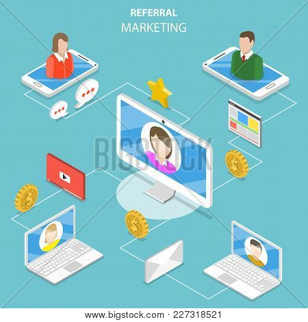 Flat Isometric Vector Concept Of Network And Affiliate Marketing, Referral Program Strategy, Busines