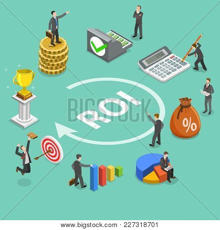 Flat Isometric Vector Concept Of Return On Investment, Roi, Digital Marketing, Marketing Analysis, P