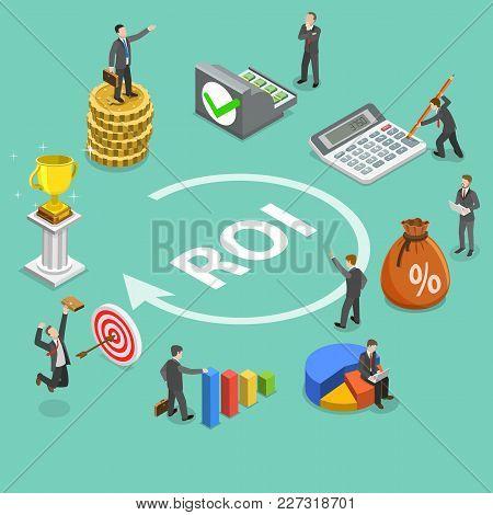 Flat Isometric Vector Concept Of Return On Investment, Roi, Digital Marketing, Marketing Analysis, P