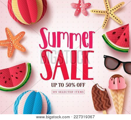 Summer Sale Vector Banner Design With Sale Text And Beach Paper Cut Colorful Elements In White Patte