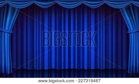 Blue Theater Curtain Vector. Theater, Opera Or Cinema Scene. Empty Silk Stage, Blue Scene. Realistic