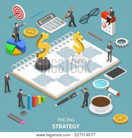 Flat Isometric Vector Concept Of Pricing Strategy, Value And Price Balance, Product Quality.
