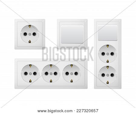 Electrical Socket Type F With Switch. Power Plug Vector Illustration. Realistic Receptacle From Euro
