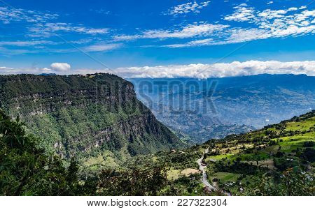 Beautiful Typical Landscape Of The Mountainous Area Of Colombia Composed Of Green Valleys And Mounta