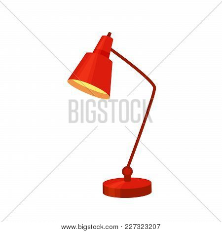 Desk Lamp Modern Cartoon Colorful Vector Illustration. Table Bulb Office Workplace Design Element In