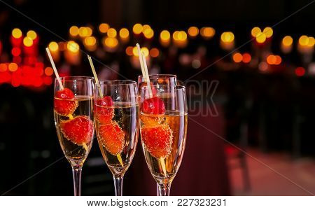 Cocktail Glasses With Cherries At A Party Or Event