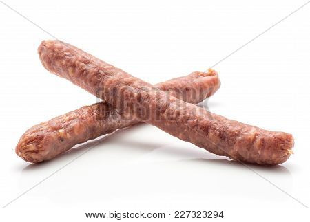 Hungarian Dry Sausages Pepperoni Isolated On White Background Two Smoked In Natural Casing Mixed Por