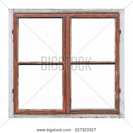 Old Wooden Window With Four Pane On White Background