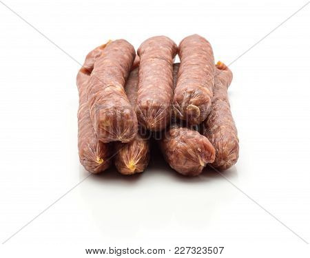 Hungarian Dry Sausages Pepperoni Set Isolated On White Background Smoked In Natural Casing Mixed Por