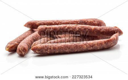 Hungarian Dry Sausages Pepperoni Isolated On White Background Group Of Smoked In Natural Casing Mixe