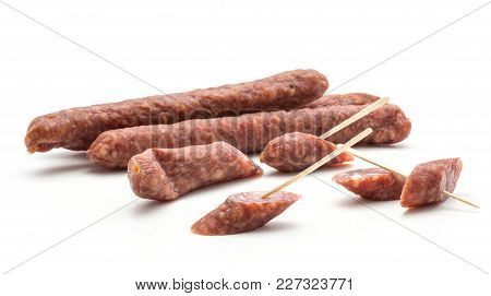 Hungarian Dry Sausages Pepperoni Isolated On White Background Smoked In Natural Casing Mixed Pork An