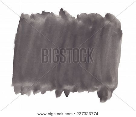 Abstract Texture Brush Ink Background Black Aquarell Watercolor Splash Hand Paint On White Backgroun