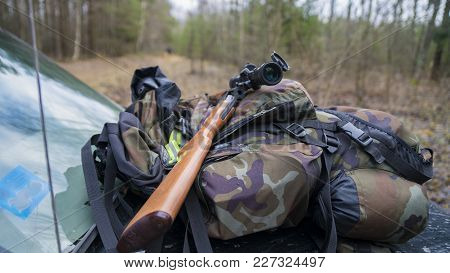 Inspection Of Hunting Weapons Before Hunting In Sunny Weather
