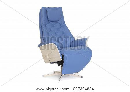 Blue Modern Genuine Leather Armchair With Natural Wood Sides And Adjustable Leg Support.