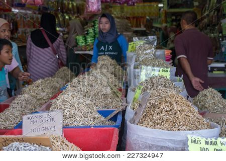 Perak, Malaysia - 14 February 2018 : Various Type Of Dried Anchovy For Sale At Local Store In Lumut.