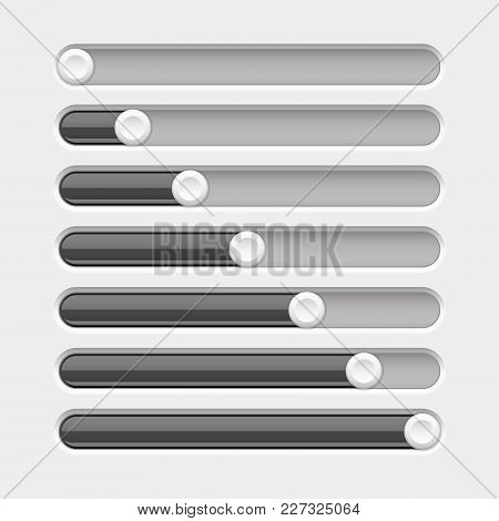 Black Slider Bar. Settings On Control Panel. Vector 3d Illustration
