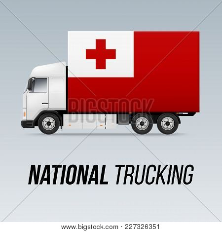 Symbol Of National Delivery Truck With Flag Of Tonga. National Trucking Icon And Tongan Flag