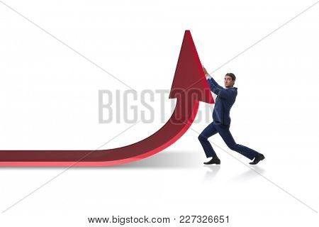 Businessman supporting growtn in economy on chart graph