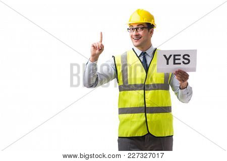 Construction supervisor with yes asnwer isolated on white backgr